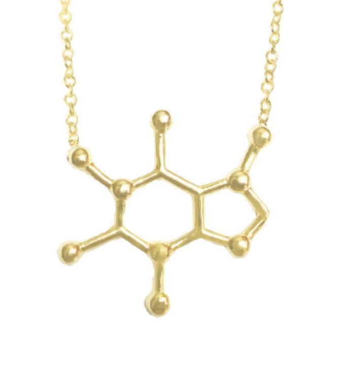 100 шт. серебро с геометрическим шестиугольным цепочки и ожерелья подвеска свитер цепи для женщин модные украшения серотонин химическая стр