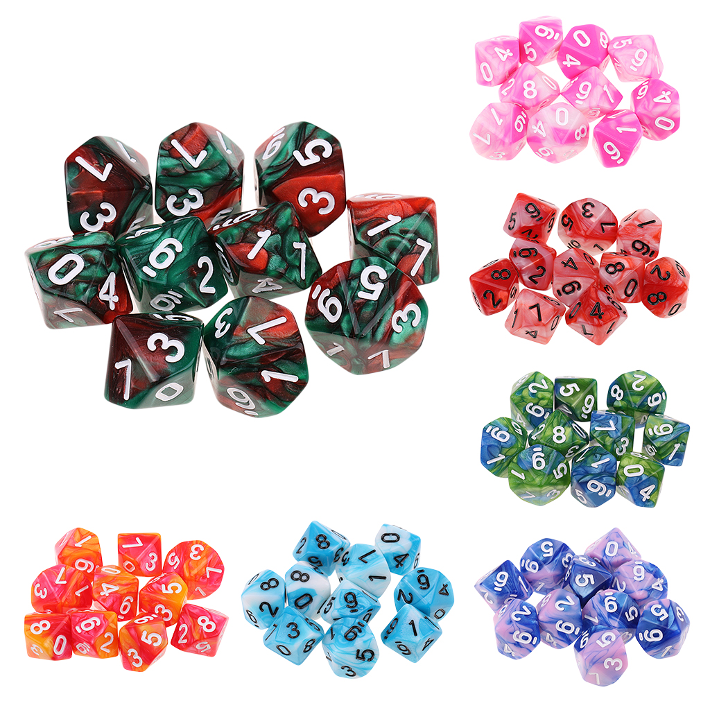 10pcs 10 Sided D10 Colorful Polyhedral Dice Double Color Dice For Dungeons And Dragons RPG MTG Table Games Board Game Accessory