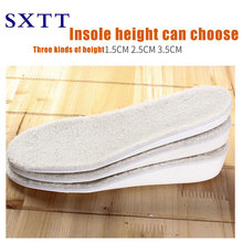 SXTT heated insole comfortable and warm anti-odor lamb hair EVA white stealth height increase soles higher insoles snow boots 1 pair unisex thicken warm snow boots insole winter white fur wool insole heated insole women height increase insole