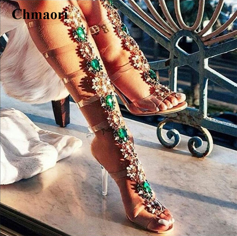 New Design Women Fashion Open Toe PVC Rhinestone Gladiator Boots Cut-out Crystal Transparent Buckle Design High Heel Sandal Boot