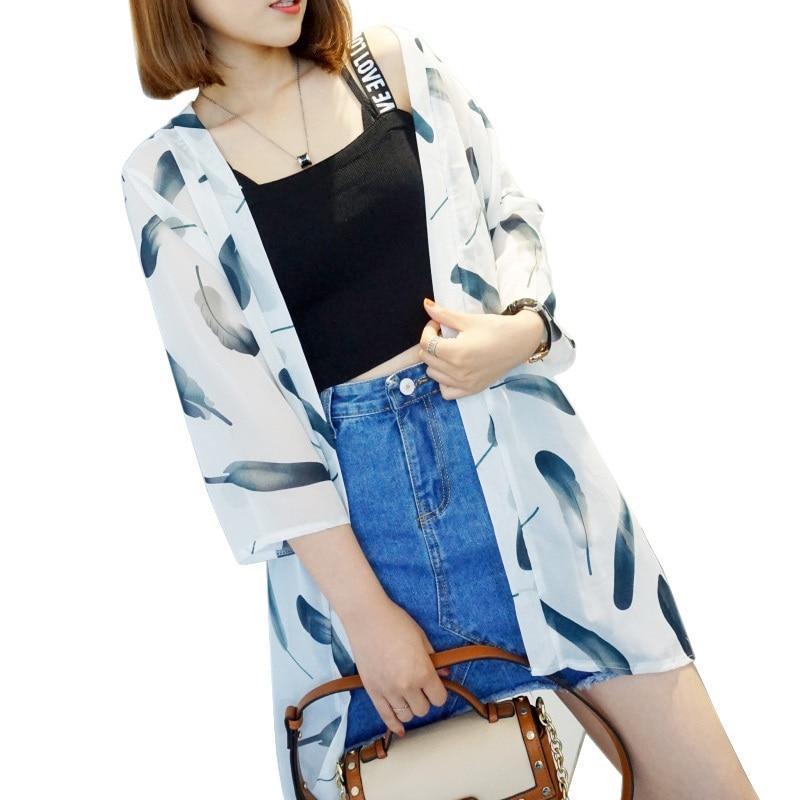 HTB1fjRRrFkoBKNjSZFkq6z4tFXaE - Blusas Mujer De Moda  New Women Summer Chiffon Blouse Pinted Casual Kimono Cardigan Long Blouses Sunscreen Tops Plus Size