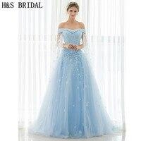 H & S с открытыми плечами синие длинные платья для выпускного вечера с шалью Кружево до вечернее платье Кружево Аппликация Кристалл Жемчуг би