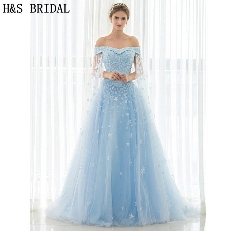 H&S Off Shoulder Blue long   prom     dresses   With Shawl Lace Up Evening Gown Lace Applique Crystal Pearls Beaded Cheap Evening   Dress