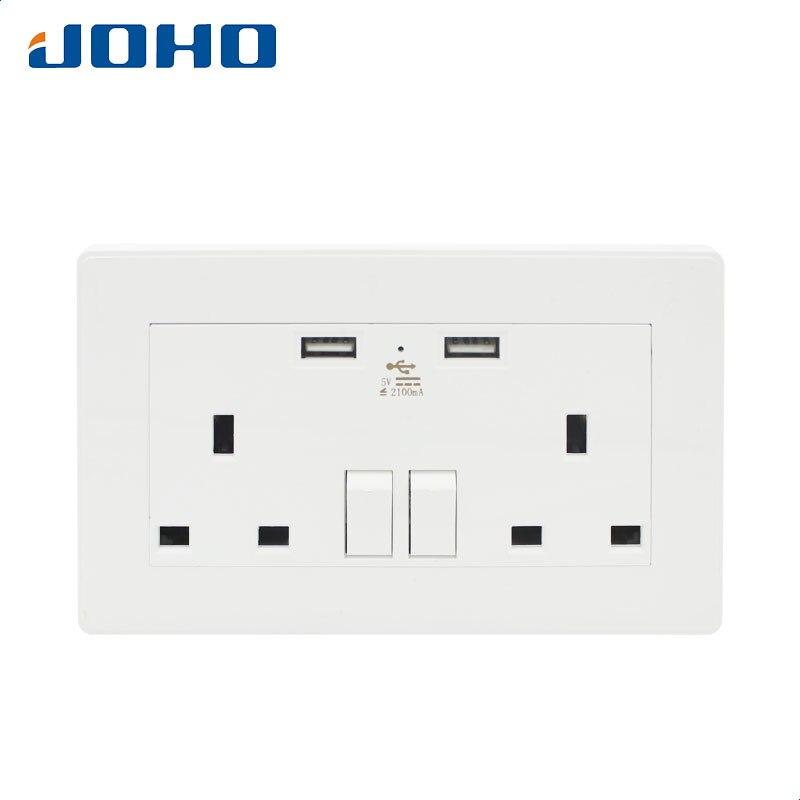 цена на JOHO UK Standard Wall Socket Electrical Sockets with Dual USB Charger 2100mA 2400mA 4800mA White Wall Power Socket SYG2100