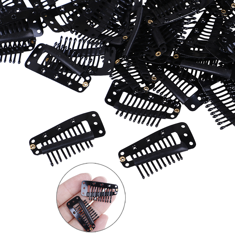 10/100Pcs 3.6CM Black Wig Combs Hair Wire Shape Clips For Weave Extension 10 Claws Rubber Wig Clips For Hair Extensions