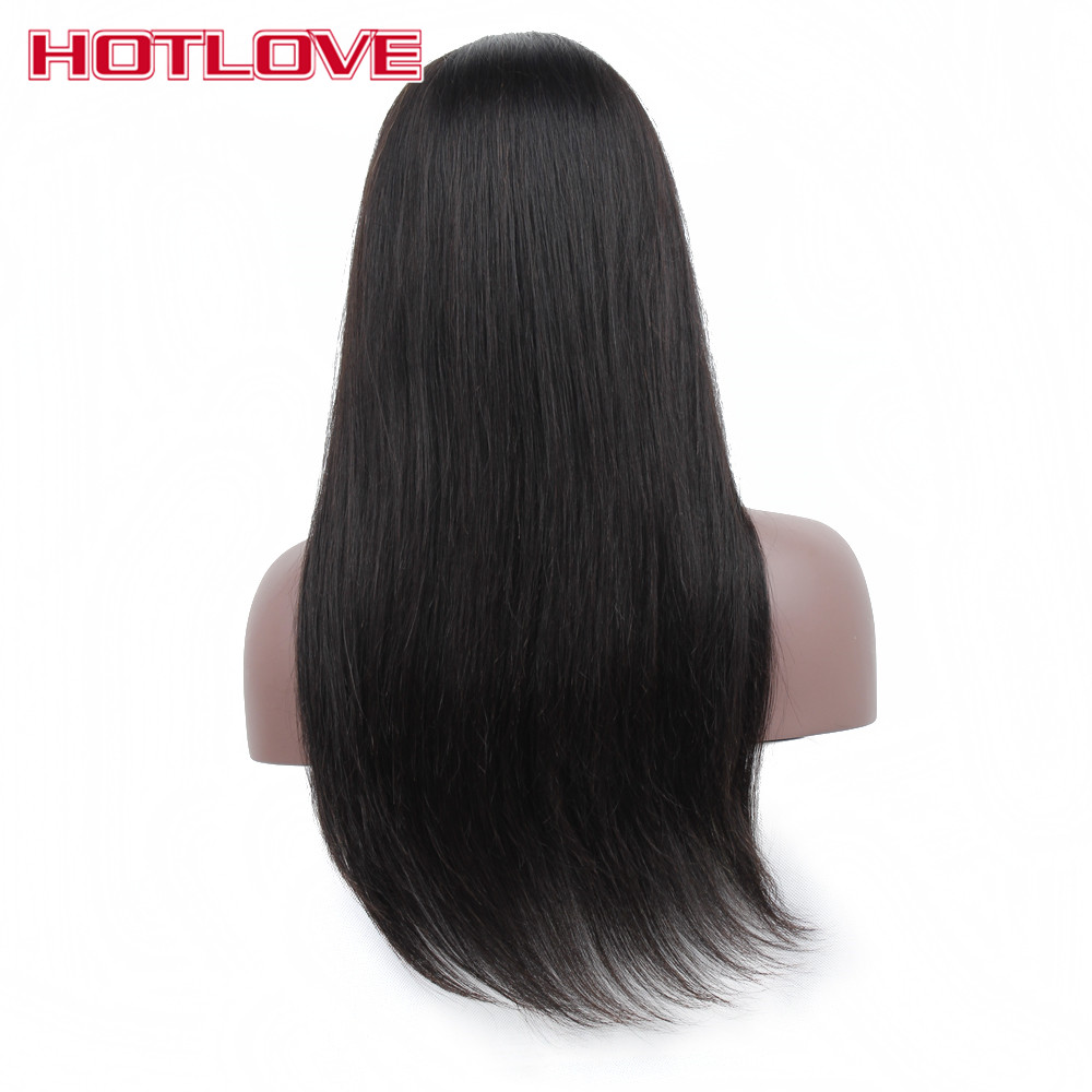 HOTLOVE Hair Glueless Lace Front Human Hair Wigs Silky Straight Natural Color Peruvian Non Remy With Baby Hair For Black Women