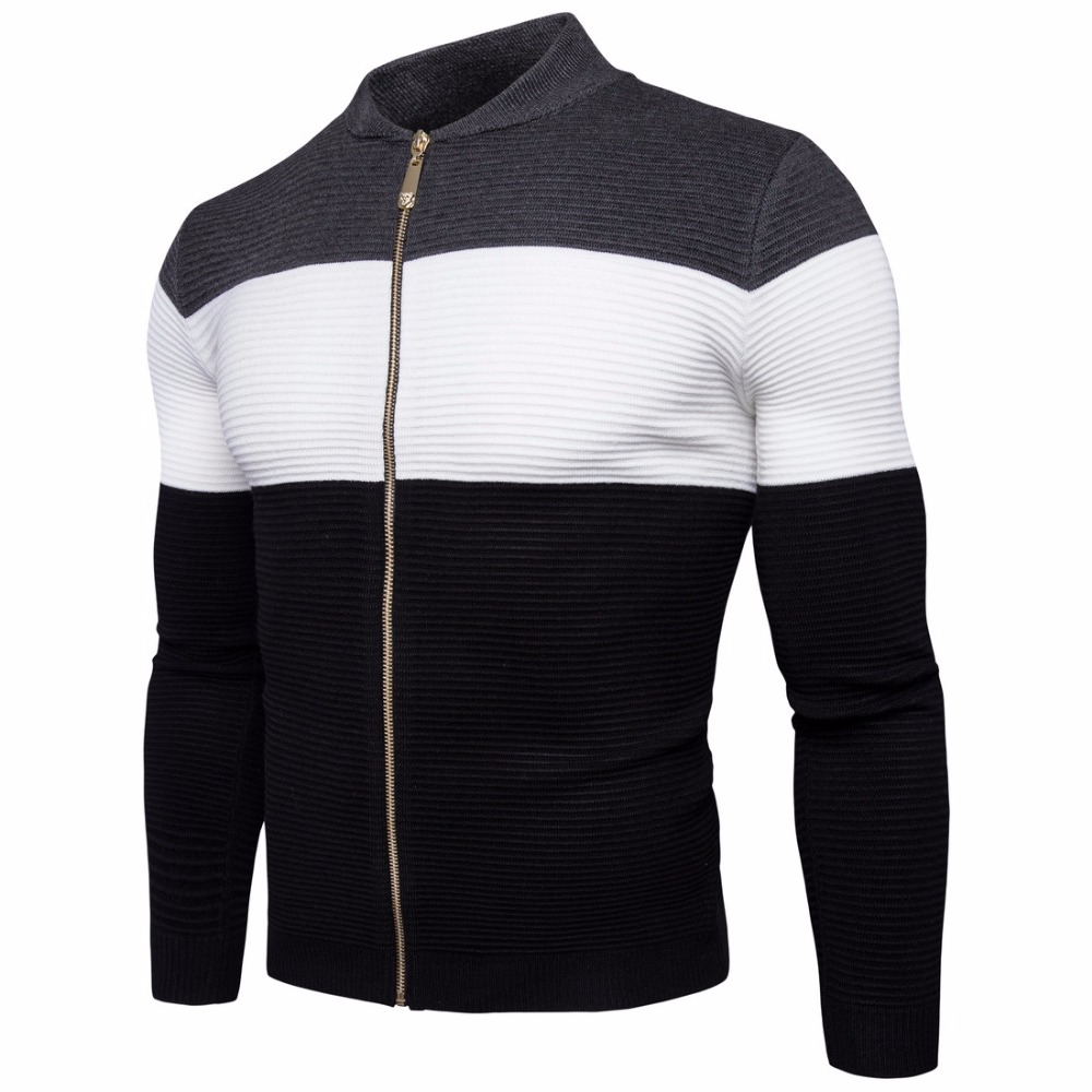 Autumn winter men Stitching color cardigan sweater with zipper fashion black gray fight  ...