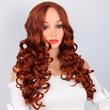Pageup 22 Inches Orange Color Synthetic Wave Wigs Middle Part