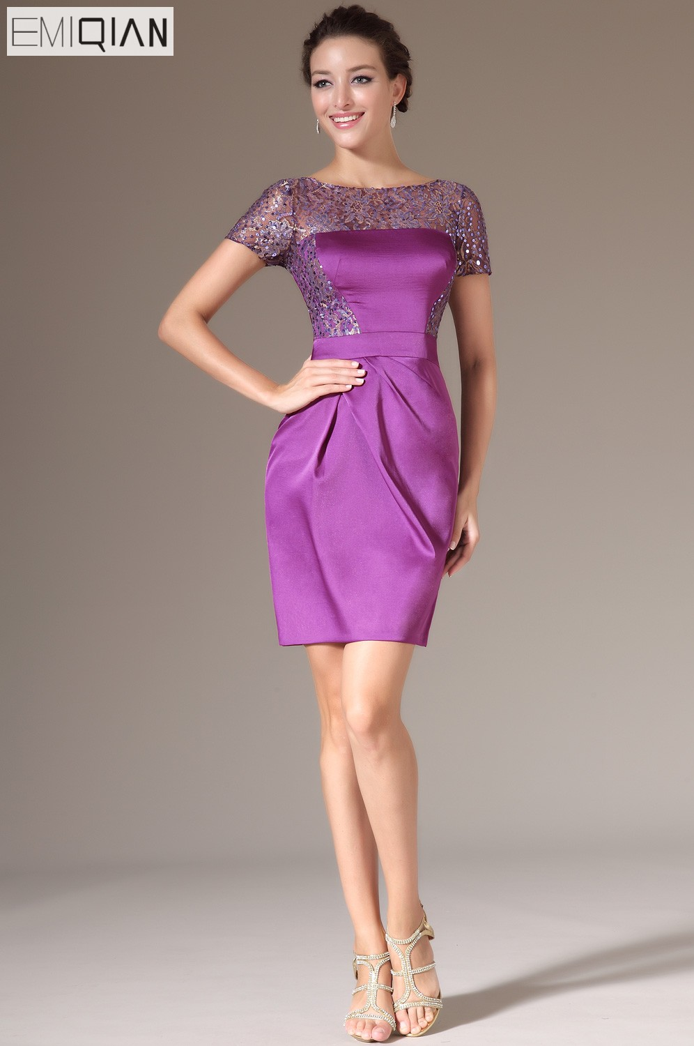 New Purple Wedding Reception   Dress  ,Mini Party   Dress  ,Short Sleeves Sequined Lace   Cocktail     Dresses