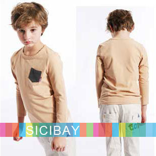 New Arrivals Boys Spring/Autumn Tops Fashion Pockets Design Cotton T-shirts, Free Shipping C0319