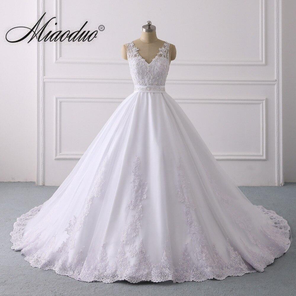 Miaoduo Wedding Dress Sleeveless Ball Gown 2020 Lace Appliques Celebrity Ball Gown Princess  Vestido De Noiva
