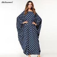 High Quality New Arab Elegant Loose Abaya Kaftan Islamic Fashion Maxi Muslim Dress Clothing Dot Design