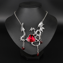 Wholesale Gothic Jewelry Movie Game Of Throne Necklace Dragon Pendant Blue Red Crystal Heart Pendant Choker Necklace For Women(China)