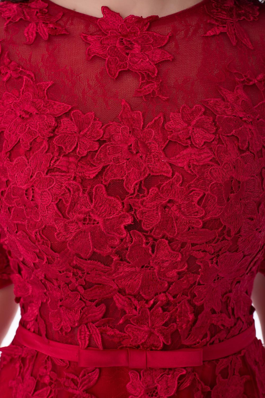 Short Evening Dresses A-Line Women Lace Appliques Robe De Soiree Half Sleeves Elegant Party Formal Prom Dress 2017 Abendkleider 11