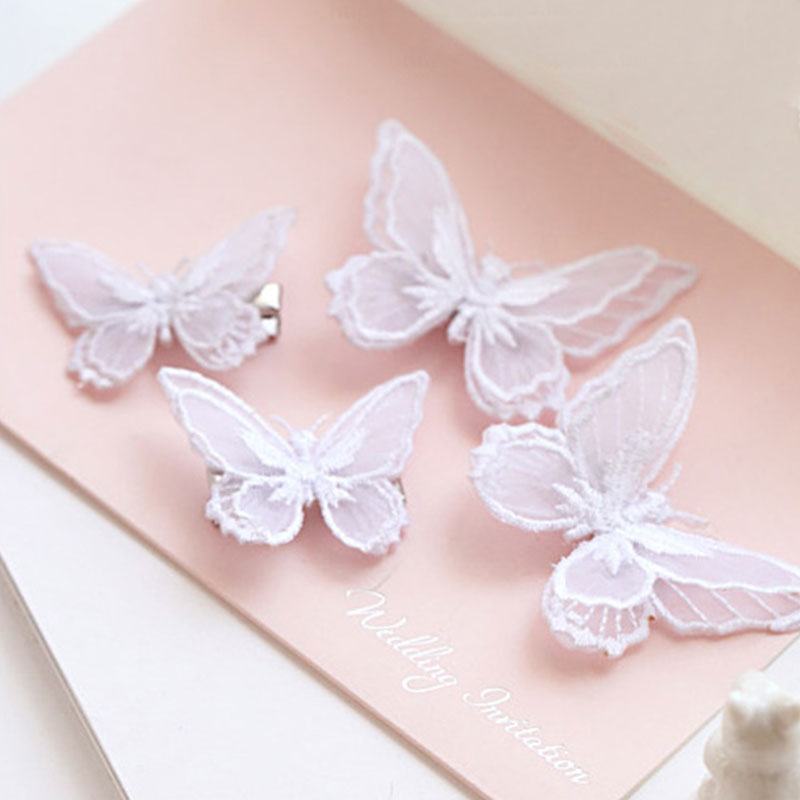 1PC Fashion Cute Butterfly Hair Clip Hairpins Double Layer Embroidery Headbands For Women Girls Hairgrips Hair Accessories