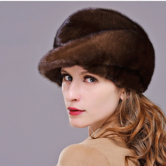 HM010 Real genuine mink  fur hat  winter women's warm caps whole piece mink fur hats Winter Cap skullies beanies mink mink wool hat hat lady warm winter knight peaked cap cap peaked cap