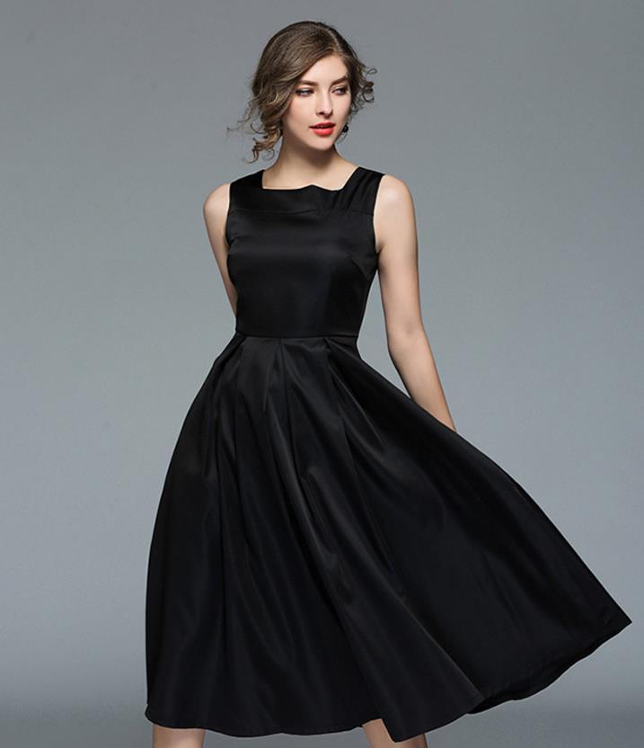 TUHAO Classic Black Elegant Vintage Retro Hepburn Vestidos Square Collar  Sleeveless Big Swing Sexy Ladies Vest Dresses LBY05-in Dresses from Women s  ... 8c12aa514