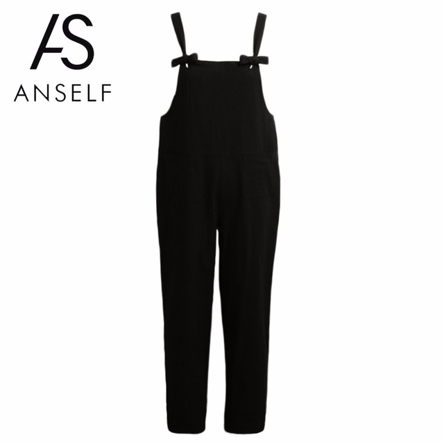 83b63712d72ca 5XL Wide Leg Pants Women Loose Jumpsuit Oversize Overalls Solid Sleeveless  Pockets Long Pants Casual Dungarees