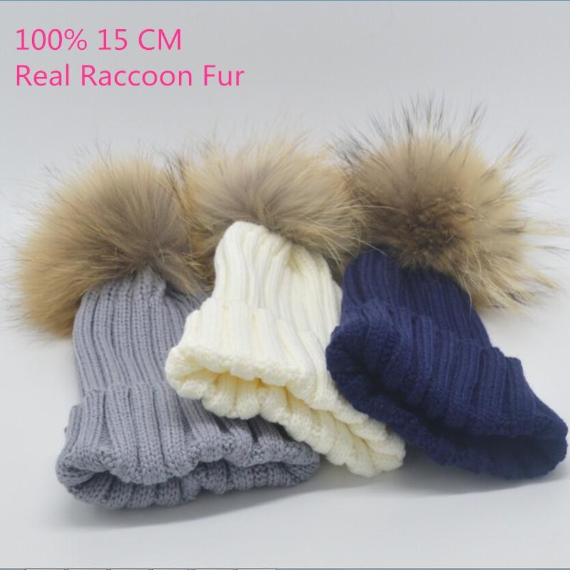 2015-New-Brand-Children-Winter-Hat-100-Real-Raccoon-Fur-Pompom-Beanies-Cap-Natural-Fur-Hats