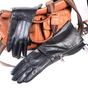 Image 3 - 40cm Mens Black Sheepskin Real Leather Medieval Renaissance Long Cuff  Zipper Knight Gauntlet Elbow Long Gloves