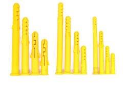 100 шт. желтый экспансивный трубки 6/8/10 мм якорь стены Пластик расширения трубы стены Вилки гипсокартон винт M6/M8/M10 сверло