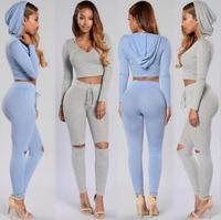 2017 Spring And Summer The New Fashion Solid Color Women S Clothing Sexy Holes Pencil Pants