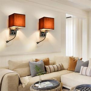 Image 2 - LED Kumaş Başucu Duvar Lambası Anahtarı ve Esnek Okuma Lambası Başlık Lambası Otel Odası Başucu Okuma Duvar Lambası NR51