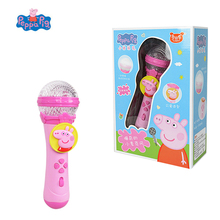 Genuine Peppa Pig Toy microphone Colored light Bright Family George Peppa Action Figures Anime figures Toys for Children Gift genuine peppa pig toy whistle post flute george pig peluche peppa action figures anime figuras peppa pig toys for children gift