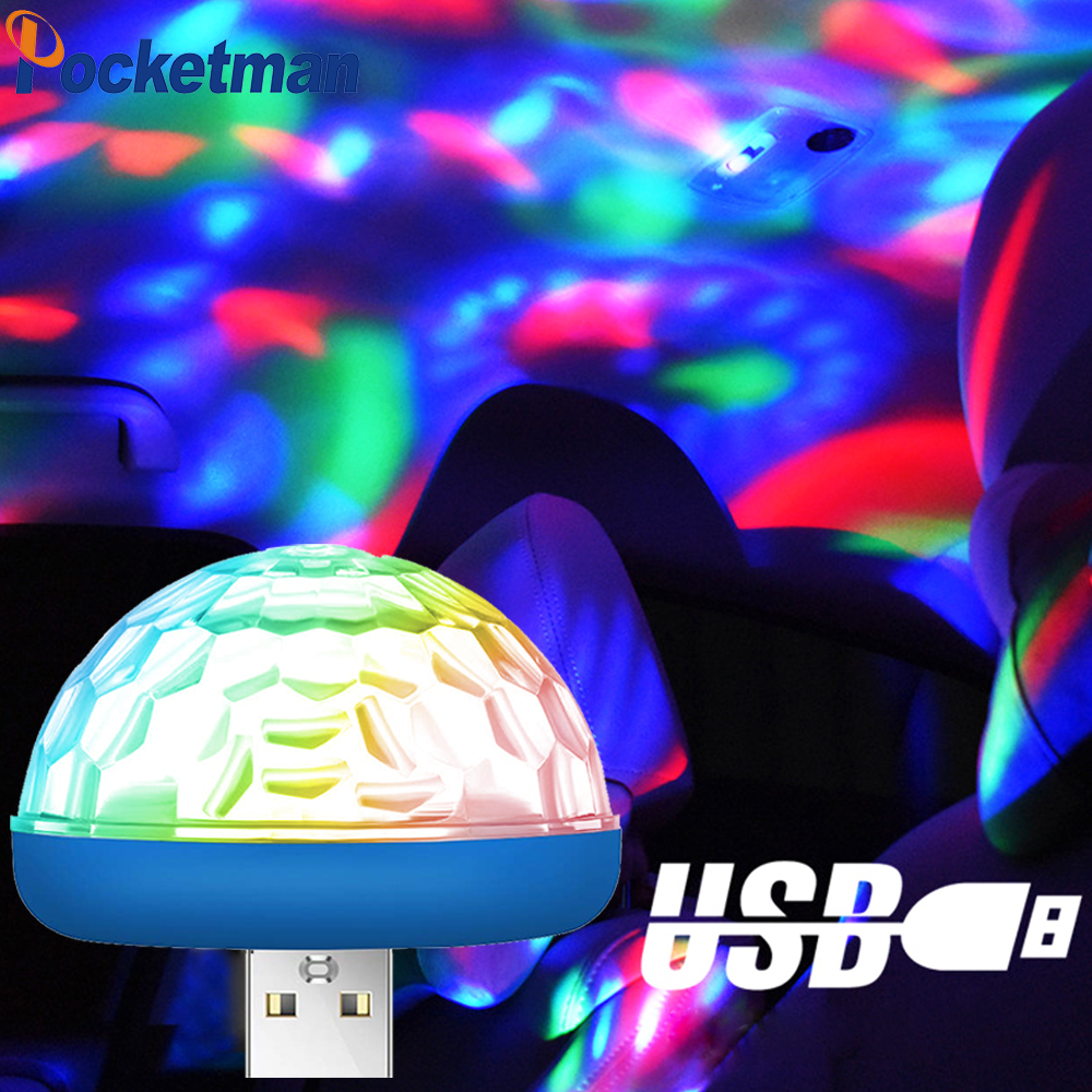 LED Car USB Atmosphere Light DJ RGB Mini Colorful Music Sound Lamp USB-C Phone Surface For Festival Party Karaoke Z25