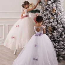 2016 New Flower Girl Dresses Little Girl Pageant Princess Cap Sleeve Scoop Beads Appliqued Lace Tulle Bow  Long Cheap