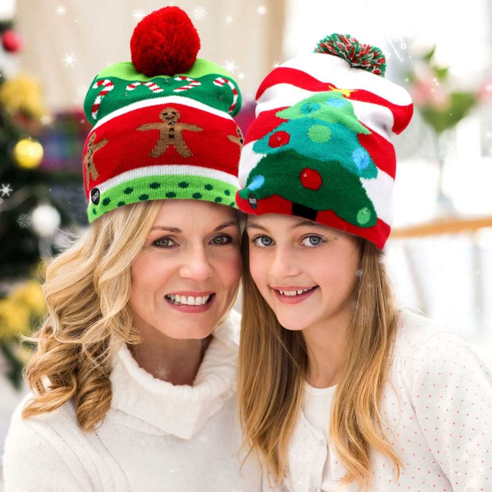 OurWarm Led Christmas Hat Cap Kids Knit New Year Hat Led Light Up Hat Beanie Merry Christmas New Year product Adult Cap 4 Style