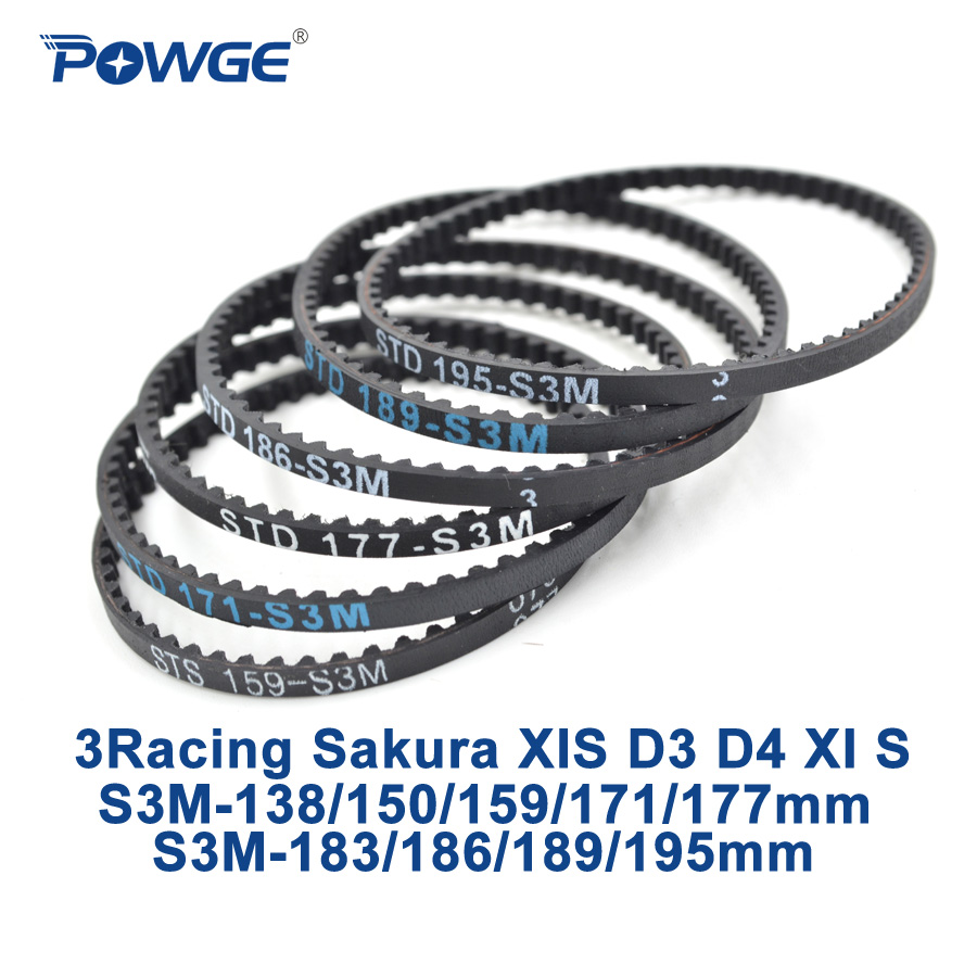 POWGE 3Racing Sakura D3 CS STD S3M Rear front Belt 138/150/159/171/177/183/186/189/195mm 1:10 RC Car Drift On Road XIS D4 XI S