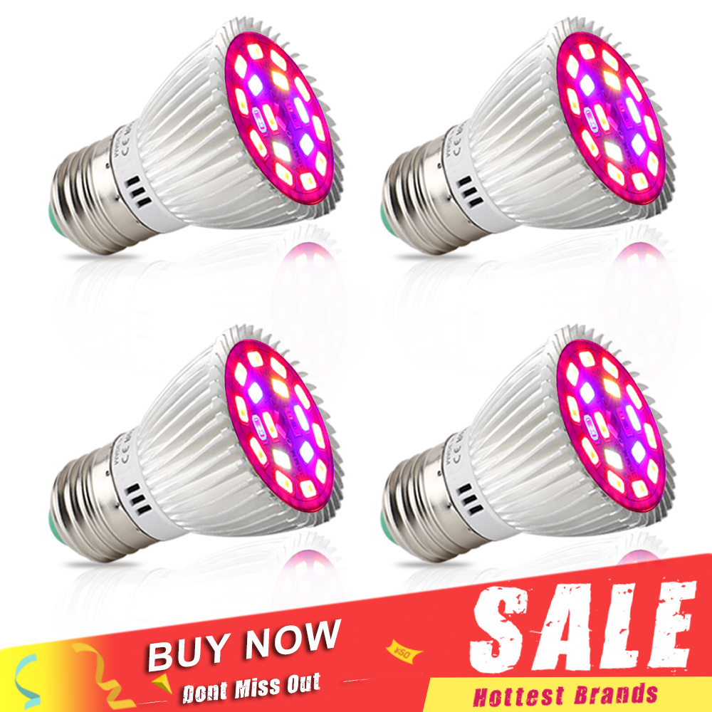 4pcs/lot 18W LED Grow Lights Full Spectrum Phytolamp E27 18Leds IR Ultraviolet Growing Lamp For Plants Seeds Flower Bulb Garden