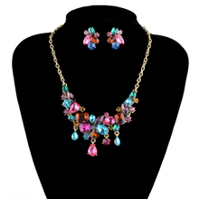 Fashion bridal Wedding Jewelry Sets rhinestone colorful multi color crystal Necklace earrings set  for party lady's jewelry