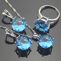 Blue Created Topaz 925 Sterling Silver Jewelry Sets For Women 925 Sliver Pendant/Necklace/Earrings/Rings Free Gift Box