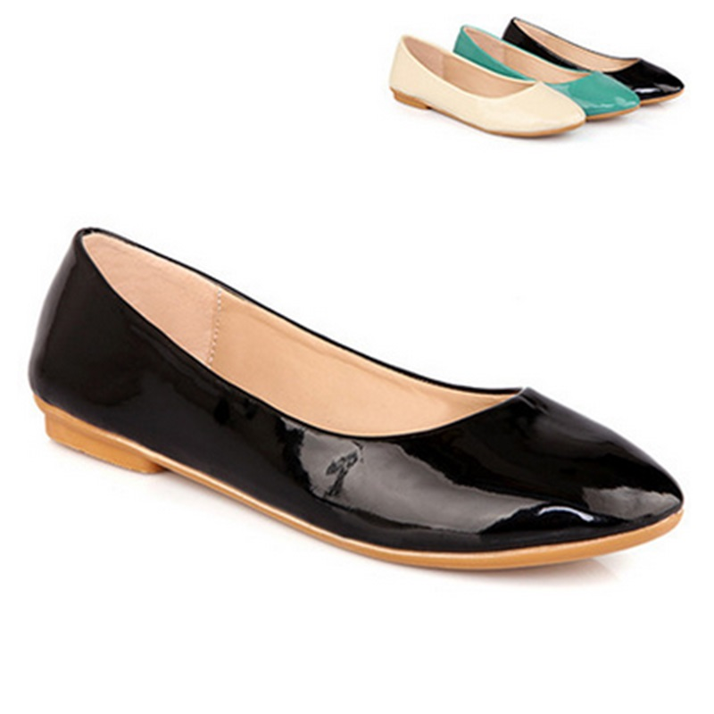 Lady's Wholesale Cheap Fashion New Style Round Toe Flattie Women Casual Sinlge Shoes Kvoll Driving Zapatos Mujer Patent Leather