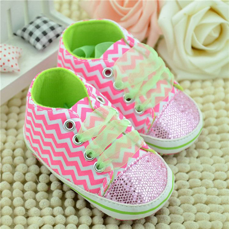 First Walkers Kid Infant Toddler Baby Girl Sole Crib Soft Sole Shoes Stripe Sneaker