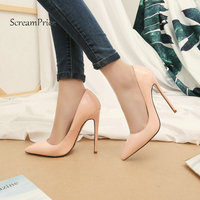 Sexy Thin High Heel Pointed Toe Woman Lazy Genuine Leather Pumps Fashion Shallow Party Shoes Woman Black Pink Nude