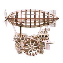 Robotime Home Decor Figurine DIY Wooden Clockwork Airship Vintage Model Kits Decoration Accessories Gift Toy for Children LK702