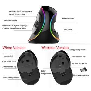 Image 3 - Delux M618 Plus RGB przewodowa mysz pionowa ergonomiczna USB 4000 DPI optyczna podpórka pod nadgarstek bezprzewodowa gra myszy na komputer stacjonarny Laptop