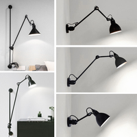Artpad Modern Adjustable Long Swing Arm Wall Lamp Lights For Reading 360 Degree Rotatable Flexible Vintage Black Wall Lamp LED