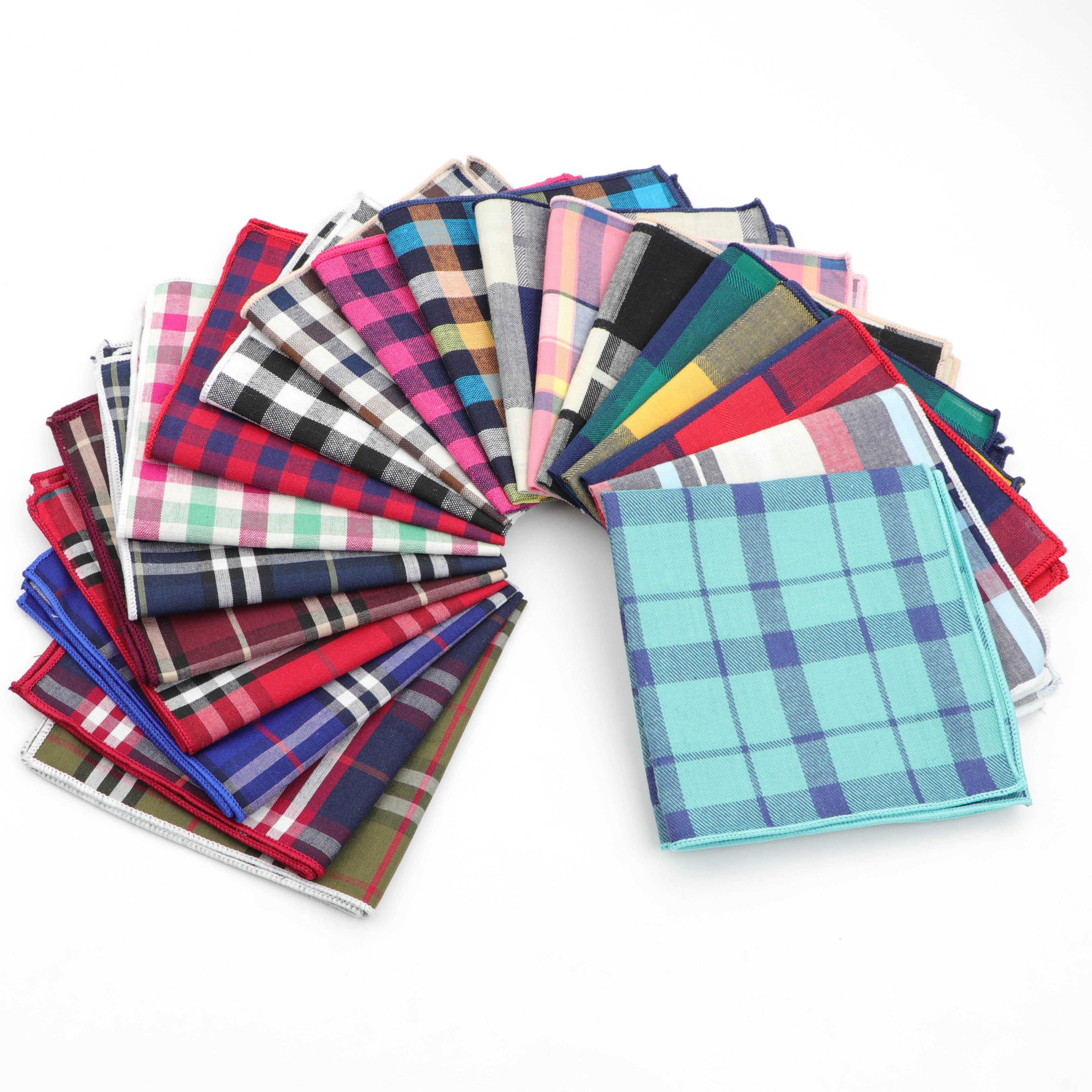 Striped Handkerchief Scarves Vintage Cotton Hankies Plaid Men's Pocket Square Printed Handkerchiefs
