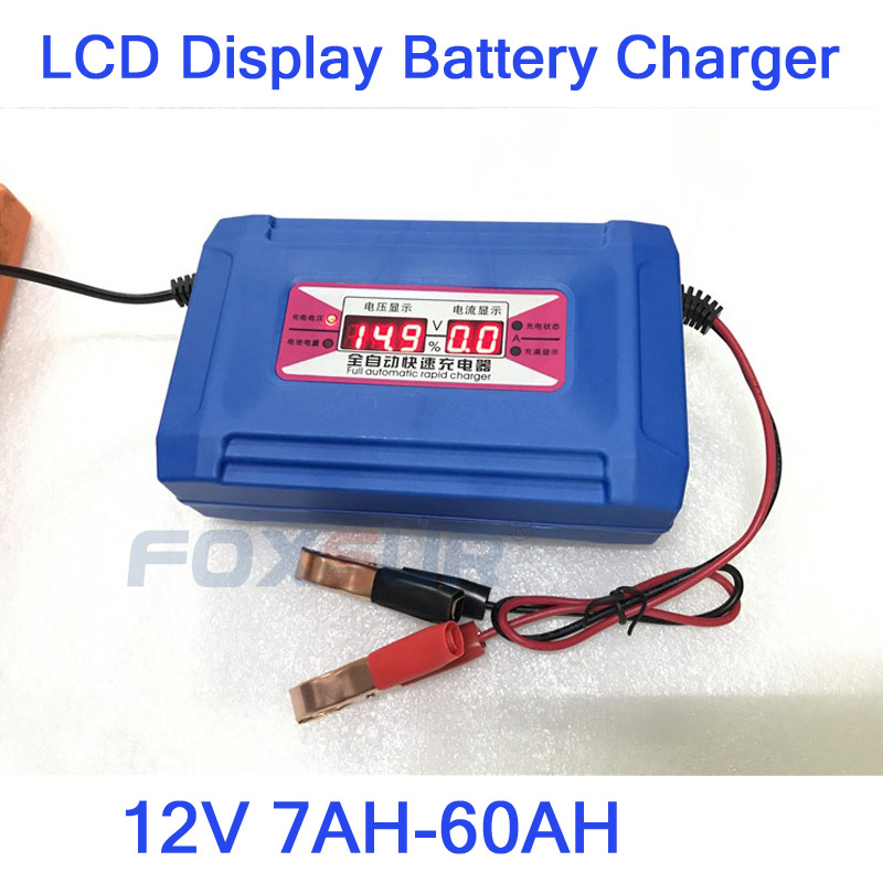 <font><b>12V</b></font> <font><b>7AH</b></font> -60AH <font><b>Lead</b></font> <font><b>Acid</b></font>/GEL Car <font><b>Battery</b></font> Charger LCD Display US EU Plug Smart Fast <font><b>Battery</b></font> Charger image