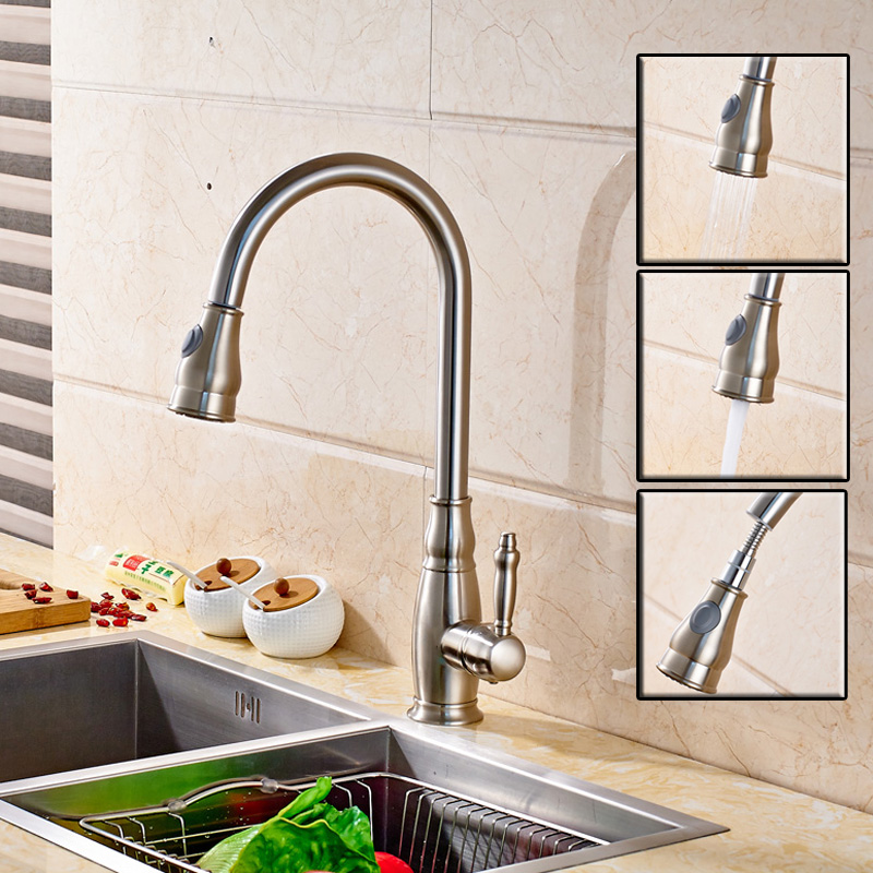 Brushed Nickel Pull Out Pull Down Sprayer Kitchen Faucet Single Handle Deck Mounted Rotation