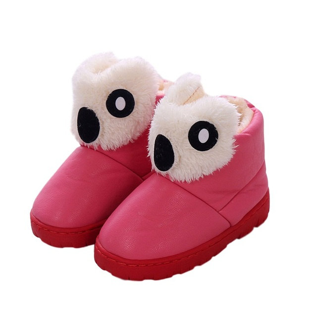 New winter snow boots plus velvet children cute baby koala shape slip shoes PU leather waterproof shoes
