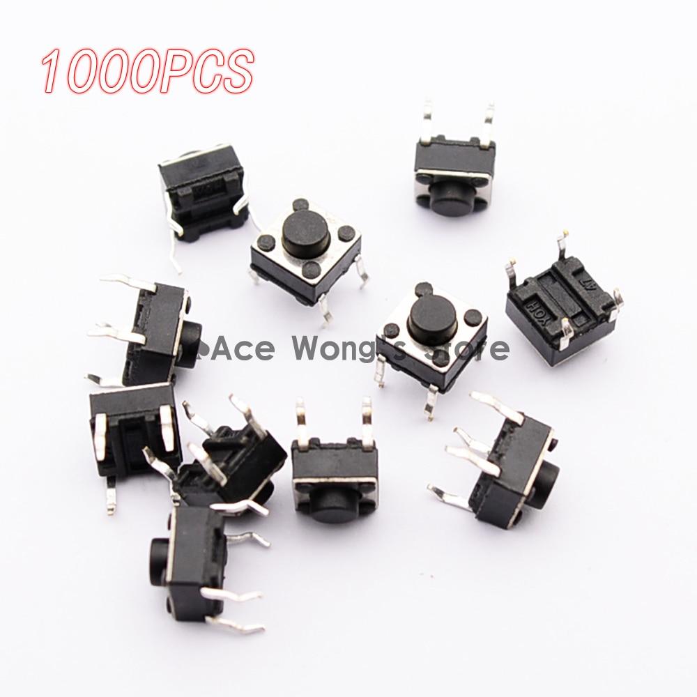 1000 teile/paket Taktile Drucktastenschalter Momentary Tact 6x6x5mm DIP Bedrahtete 4pin