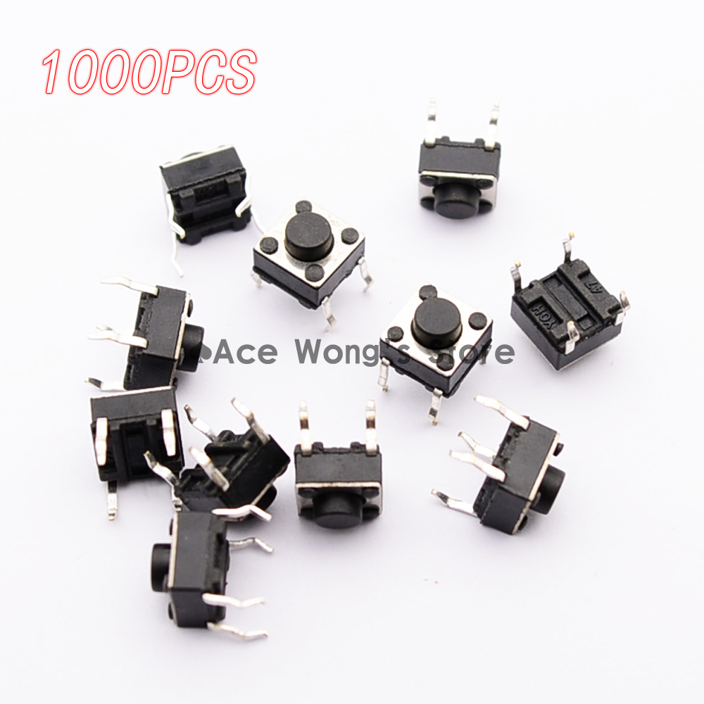 1000pcs/pack Tactile Push Button Switch Momentary Tact 6x6x5mm DIP Through-Hole 4pin