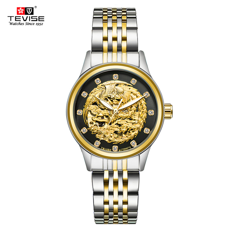 TEVISE Mechanical Watches Women 2018 Top Brand Luxury Golden Dial Stainless Steel WristwatchTEVISE Mechanical Watches Women 2018 Top Brand Luxury Golden Dial Stainless Steel Wristwatch