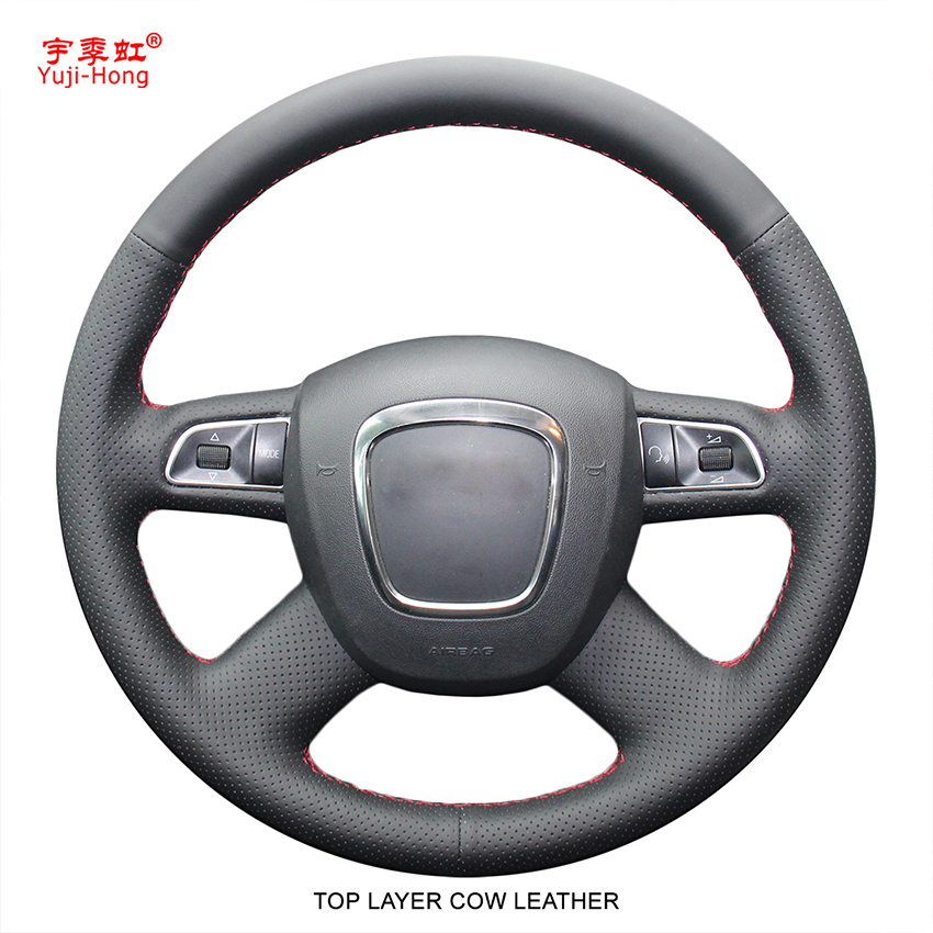 Top Layer Genuine Cow Leather Car Steering Wheel Covers Case for Audi A4 B7 B8 A6 C6 A8 2009 Q7 Q5 (2008-2012) Black