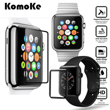 For iWatch Apple Watch Collection 2/3 38mm 42mm Clear Protector Cowl 3D Curved Full Display screen Protection Tempered Glass Protecting Movie